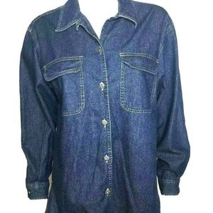 Liz Claiborne Womens sz M Denim Shirt Jacket